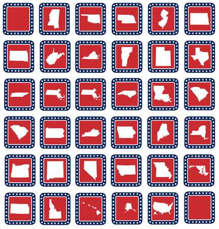 Set of American state map buttons in flat web design style, isolated on white background. photo