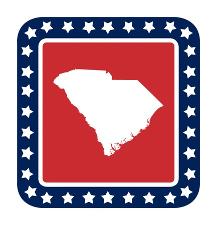 South Carolina state button on American flag in flat web design style, isolated on white background. photo