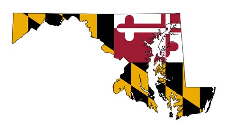 maryland flag: State of Maryland flag map isolated on a white background, U.S.A.
