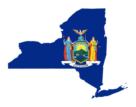 new york map: State of New York flag map isolated on a white background, U.S.A.