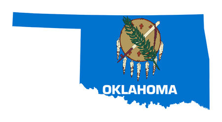 oklahoma: State of Oklahoma flag map isolated on a white background, U.S.A.