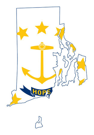 State of Rhode island flag map isolated on a white background, U.S.A. photo