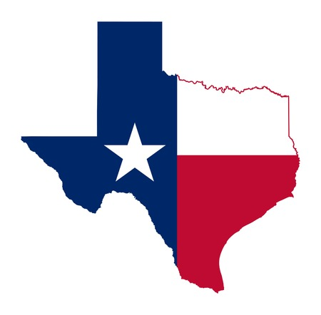 State of Texas flag map isolated on a white background, U.S.A. Standard-Bild