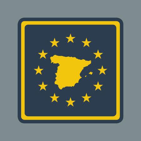 majorca: Spain European flag button in flat responsive web design style  Stock Photo