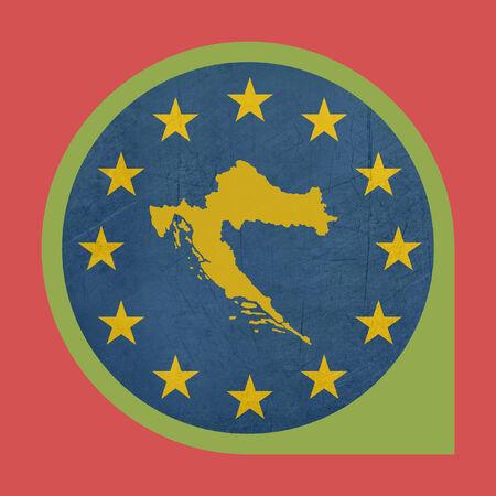 European Union Croatia button isolated on white background. photo