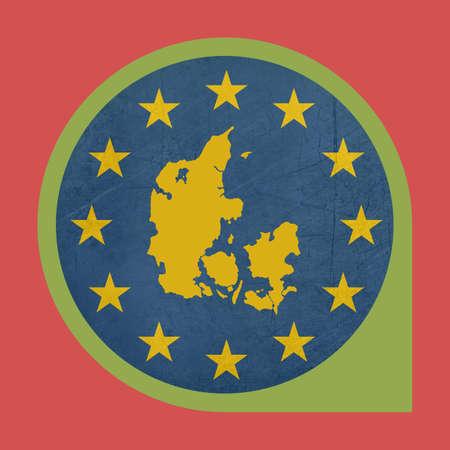 European Union Denmark button isolated on white background. photo