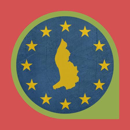 flag pin: European Union Liechtenstein marker button isolated on white background.