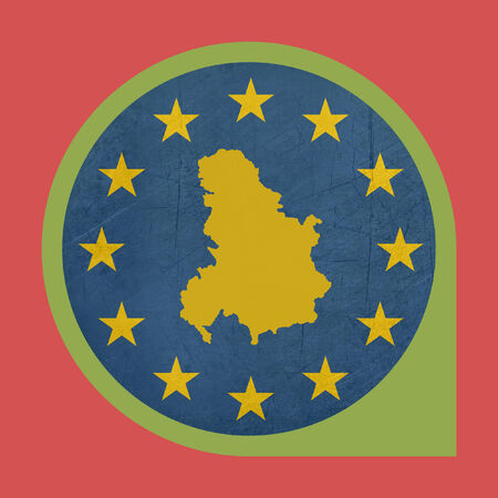 serbia and montenegro: European Union Serbia and Montenegro marker button isolated on white background.