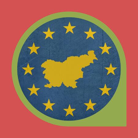 European Union Slovenia marker button isolated on white background. photo