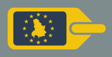 serbia and montenegro: Serbia and Montenegro European travel luggage label or tag in flat web design colors.