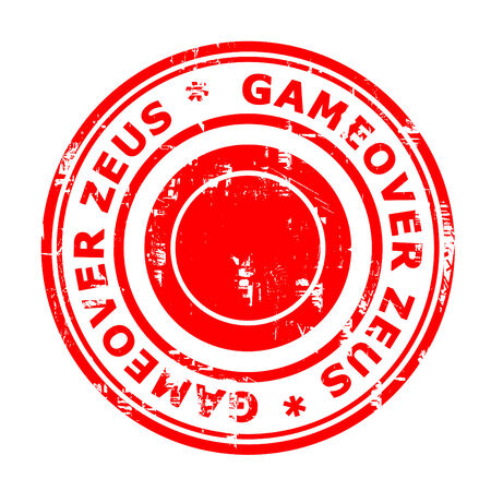 bot: Gameover Zeus virus stamp isolated on a white background.