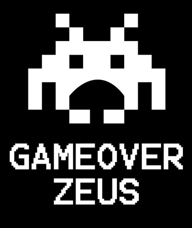 Gameover Zeus virus concept using space invaders game.