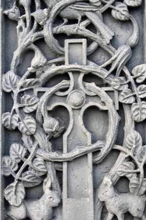 engravings: Historical religious engravings dating from the Medieval ages on a memorial.
