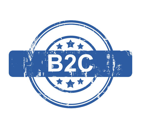 b2c: B2C business concept stamp with stars isolated on a white background.