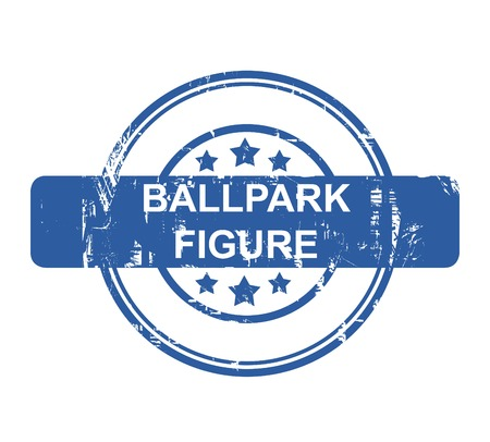 ballpark: Ballpark figure business concept stamp with stars isolated on a white background. Stock Photo