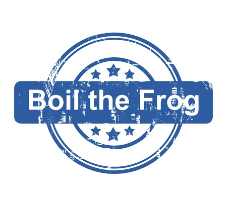 Boil the frog business concept stamp with stars isolated on a white background. photo