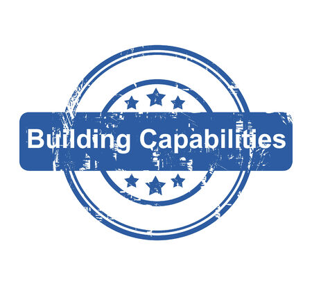capabilities: Building Capabilities business concept stamp with stars isolated on a white background.