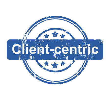 centric: Client-centric business concept stamp with stars isolated on a white background. Stock Photo