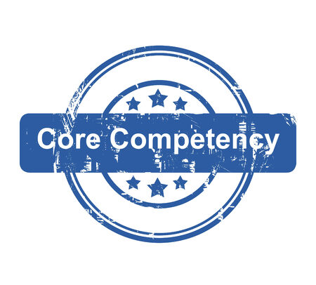 competency: Core competency business concept stamp with stars isolated on a white background. Stock Photo