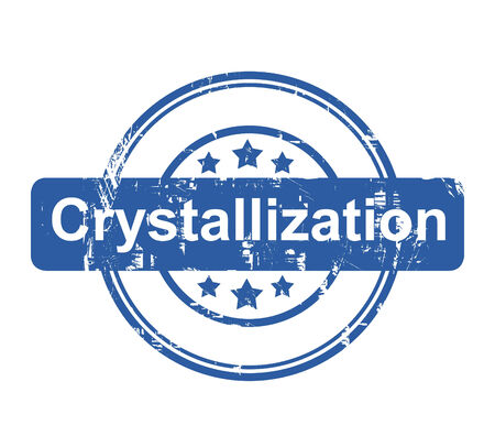 crystallization: Crystallization business concept stamp with stars isolated on a white background.