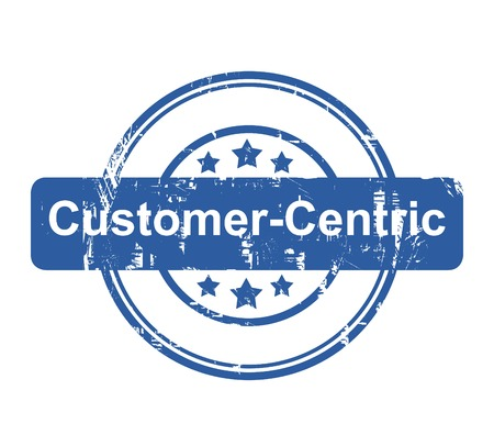 customer: Customer Centric business concept stamp with stars isolated on a white background.