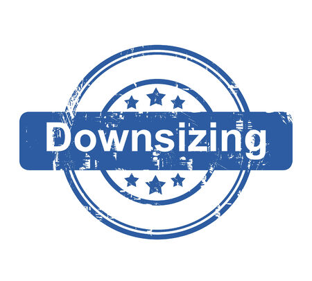 downsizing: Downsizing business concept stamp with stars isolated on a white background. Stock Photo