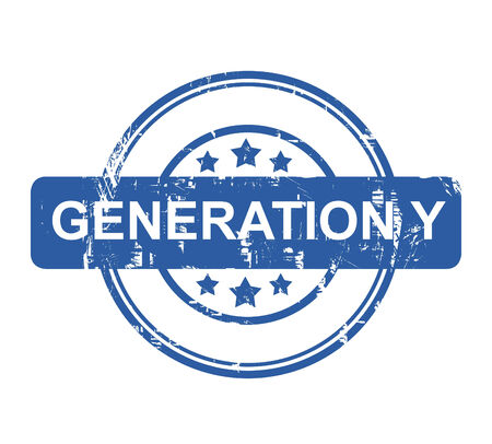 generation y: Generation Ystamp with stars isolated on a white background.