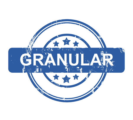 granular: Granular business concept stamp with stars isolated on a white background.
