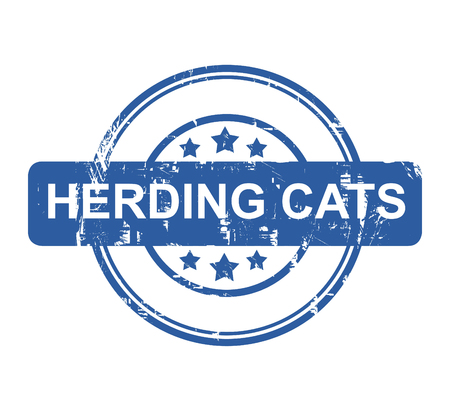 in herding: Herding Cats business concept stamp with stars isolated on a white background.