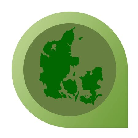 Isolated Denmark map marker pin in flat web design style. photo