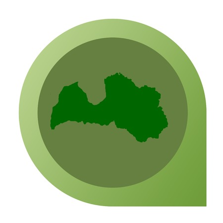 Isolated Latvia map marker pin in flat web design style. photo