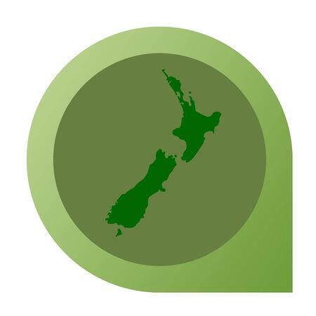 Isolated New Zealand map marker pin in flat web design style. photo