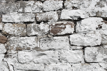 dry stone: Abstract background of a painted white dry stone wall. Stock Photo