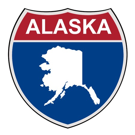 alaska map: American State of Alaska map interstate highway road shield isolated on a white background.