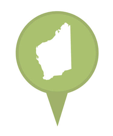 western state: Australia State of Western Australia map marker pin isolated on a white background.