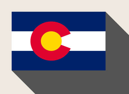 colorado state: American State of Colorado flag in flat web design style.