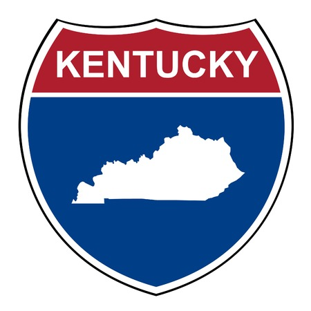 Kentucky American interstate highway road shield isolated on a white background. photo