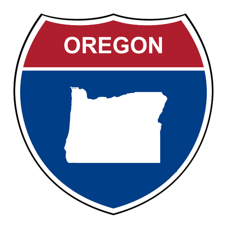highway signs: Oregon American interstate highway road shield isolated on a white background.