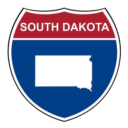 interstate: South Dakota American interstate highway road shield isolated on a white background.