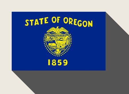 oregon: American State of Oregon flag in flat web design style.