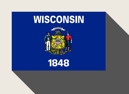 wisconsin: American State of Wisconsin flag in flat web design style.