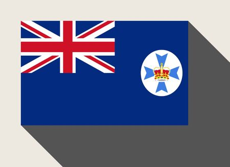 queensland: Australian state of Queensland flag in flat web design style.