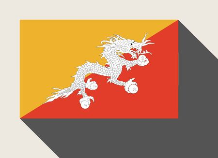 bhutan: Bhutan flag in flat web design style. Stock Photo