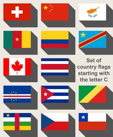 helvetica: Set of country flags starting with the letter C.