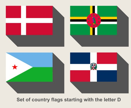dominican: Set of country flags starting with the letter D