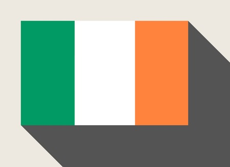 republic of ireland: Republic of Ireland flag in flat web design style.