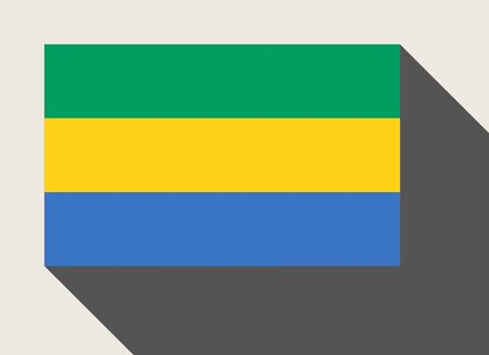 gabon: Gabon flag in flat web design style. Stock Photo
