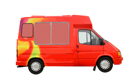 negocios comida: Camión del helado aislado en un fondo blanco.