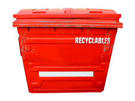 recycling bin: Red industrial recycling bin on a white background.