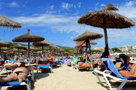 established: PALMA NOVA BEACH, MAJORCA, SPAIN - 24th August 2015: Palma Nova beach resort on the 24th August 2015. This is a popular and established tourist destination every summer. Editorial